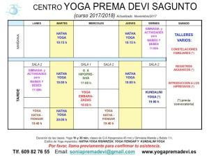 Horario2017-18 Yoga NOV17