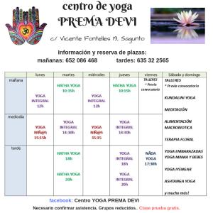 centro de yogaPREMA DEVI horario noviembre